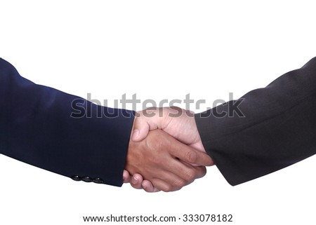 businessmen hands shaking for advertising or design element isolated on white with work path - stock photo