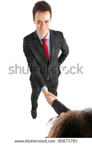 Businessmen having a handshake isolated on white