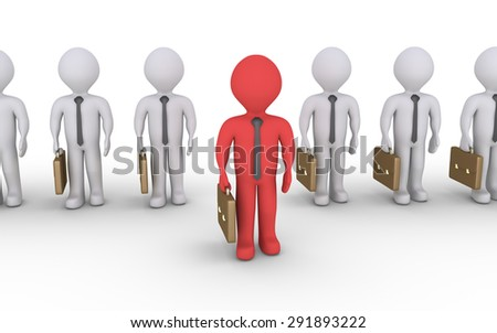 Businessmen in line and one stands out is in front of them - stock photo