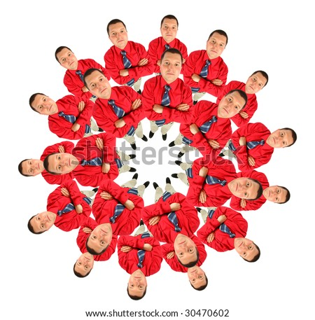 businessmen in red shirt circle collage - stock photo