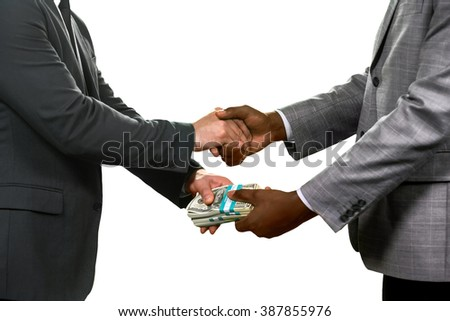 Businessmen making a deal. Choose whom to trust. The final decision. Simple and effective. - stock photo