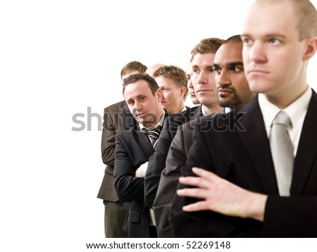 Businessmen on a line isolated on white background - stock photo
