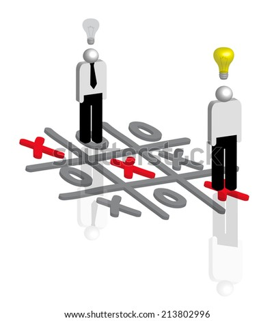 Businessmen playing tic tac toe as concept for business strategy  - stock photo