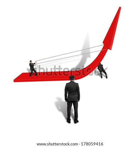 Businessmen pulling up red arrow teamwork isolated in white background