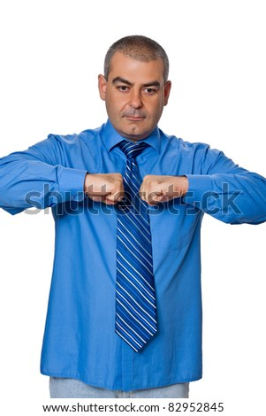 Businessmen shaking fists together. isolated on a white background - stock photo