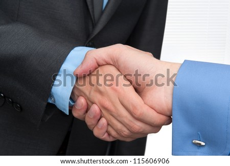 Businessmen shaking hands closeup - stock photo