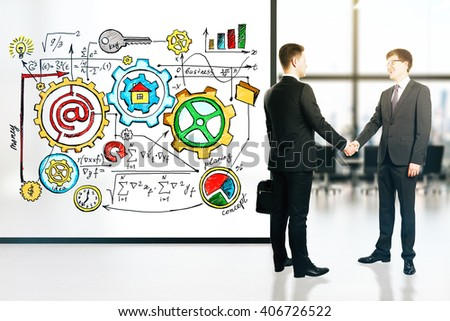 Businessmen shaking hands in conference room interior with business scheme on banner. 3D Rendering - stock photo