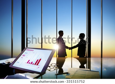 Businessmen Shaking Hands Information Data Shake Concept