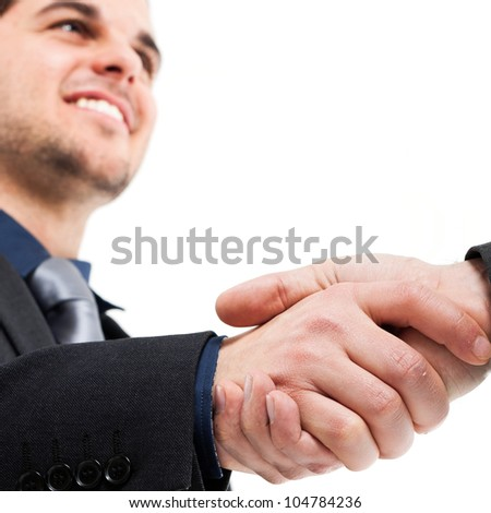 Businessmen shaking hands. Isolated on white - stock photo