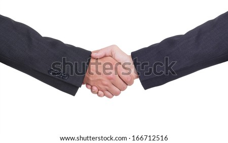 Businessmen shaking hands, isolated on white. Closeup - stock photo