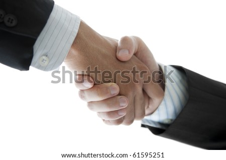 Businessmen shaking hands isolated on white, low angle view. - stock photo