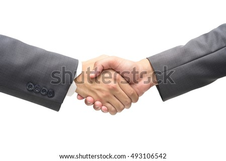 Businessmen shaking hands on isolated white background,business and office concept