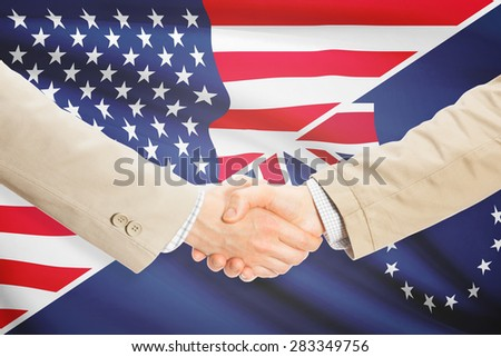 Businessmen shaking hands - United States and Cook Islands