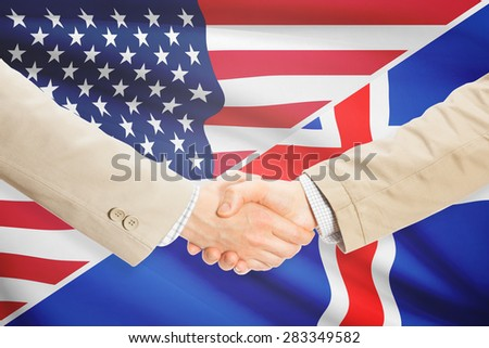 Businessmen shaking hands - United States and Iceland