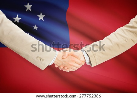 Businessmen shaking hands with flag on background - Samoa