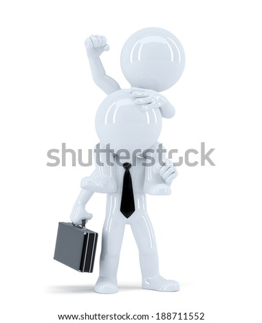 Businessmen sitting on the colleagues shoulders. Business concept. Isolated.  - stock photo