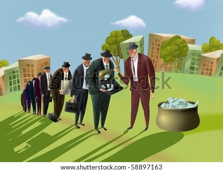 Businessmen stand in a queue for money. One businessman distribute money among remainder. - stock photo
