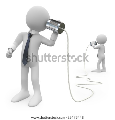 Businessmen talking on a homemade can phone - stock photo