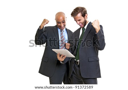 Businessmen with a tablet or pad