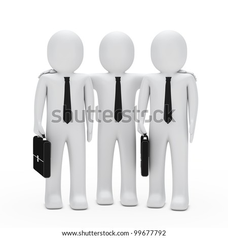 businessmen with black briefcase and tie teamwork - stock photo