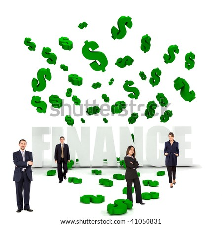 Businesspeople and dollar symbols raining over word finance isolated over white