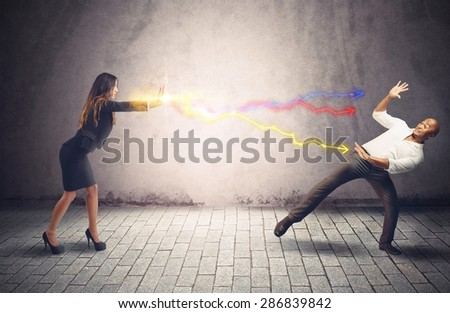 Businesspeople are struggling because antagonists and opponent - stock photo