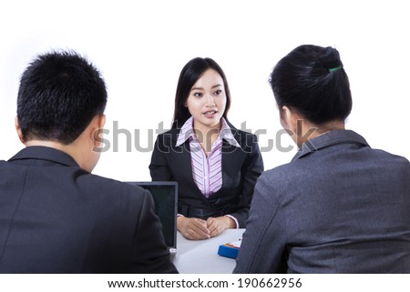 Businesspeople conducting job interview isolated on white background - stock photo
