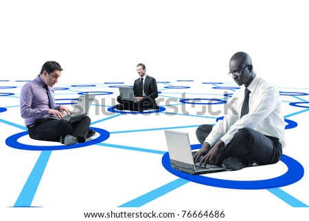 businesspeople connected on 3d virtual web - stock photo