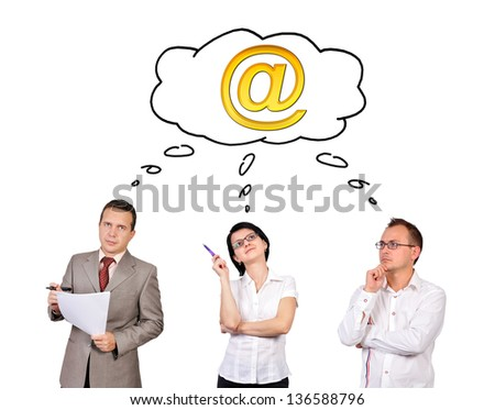 businesspeople dreaming on white background - stock photo
