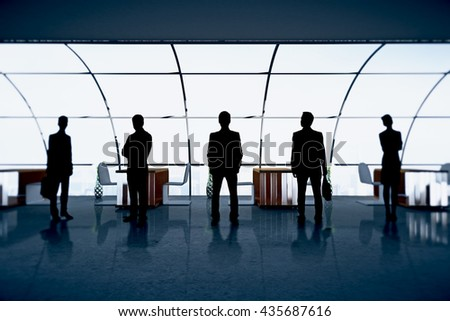 Businesspeople figures in office interior with panoramic windows. Concept of partnership and teamwork. 3D Rendering - stock photo