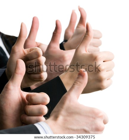 Businesspeople hands showing okay sign - stock photo
