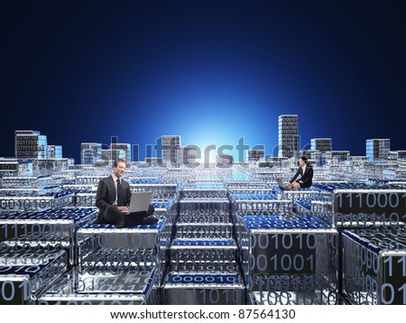 businesspeople in 3d binary code world - stock photo