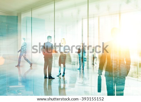 Businesspeople meeting in office. Hologram image. Filter, toned. Concept of communication. - stock photo