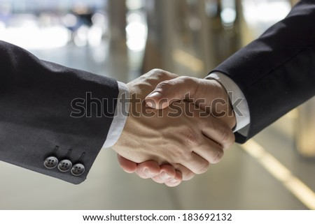 businesspeople shaking hands indoors bright background  - stock photo
