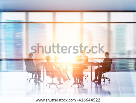 Businesspeople silhouettes in conference room with Singapore city in the background. Double exposure - stock photo