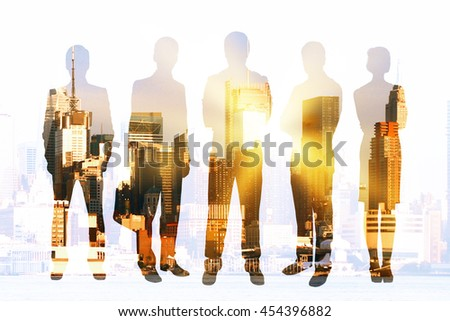 Businesspeople silhouettes on city background with sunlight. Concept of teamwork and partnership. Double exposure