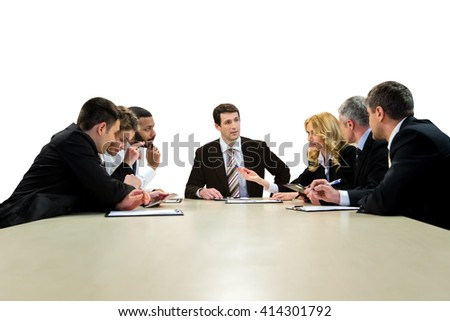 Businesspeople sitting at the table. Business meeting on white background. Teamwork as it is. Company's brightest minds. - stock photo