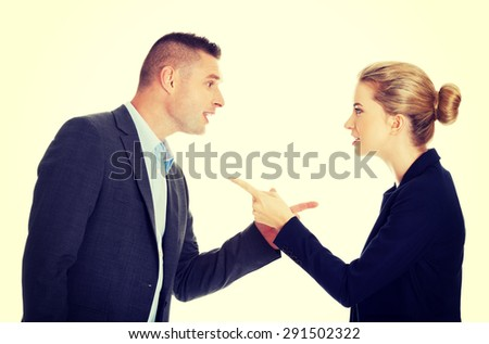 Businesspeople talking about their corporation - stock photo