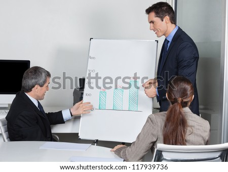 Businesspeople with whiteboard discussing strategy in a meeting - stock photo
