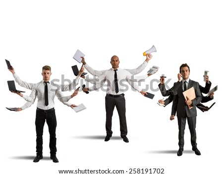 Businessperson that to solve problems become multitasking - stock photo