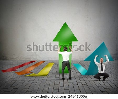 Businessperson try to grow the company profit - stock photo
