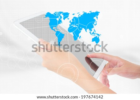 Businessperson Using A Digital Tablet,Technology,Social Network,Internet Concept,Add More Text And Ideas