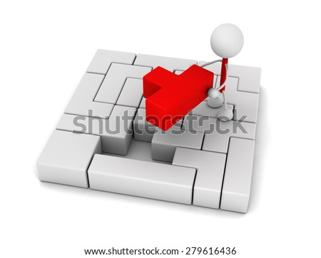 Businessperson with  red block - stock photo
