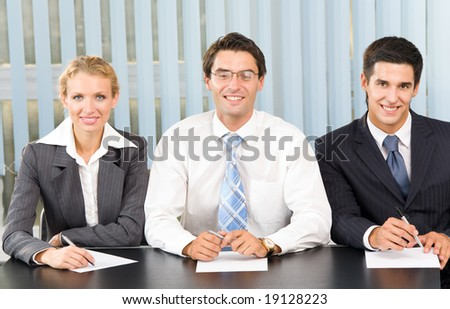 Businessteam, board meeting or selection committee at office