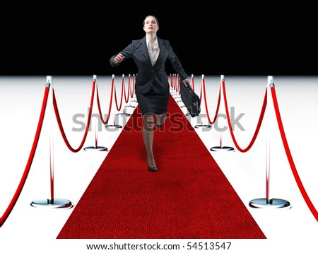 businesswoma run on 3d  red carpet - stock photo