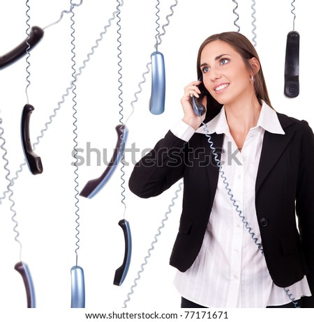 businesswoman all time on phone, isolated on white - stock photo