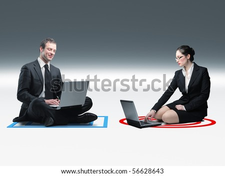 businesswoman and businessman use laptop and sit on 3d background - stock photo