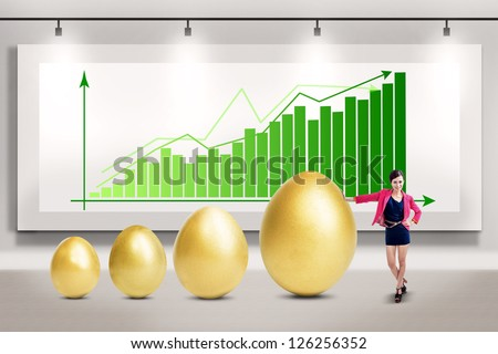 Businesswoman and profit growth - stock photo