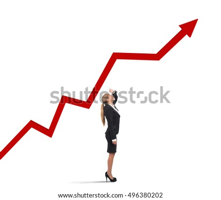 Businesswoman and success uphill