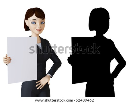 Businesswoman and white panel - stock photo